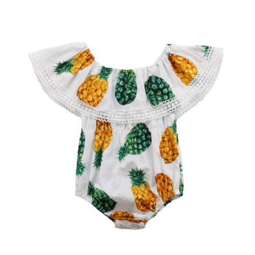Pineapple Printed Newborn Infant Toddle Baby Girls Lace Off Shoulder Shortsleeve Bodysuit Sunsuit Cotton Clothes Baby Girl 0-24M