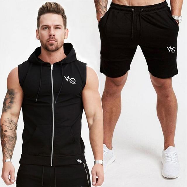 fca6b2d4df7341 Summer Top Mens Tracksuit Sport Clothing Running Set Gym Short Sleeve Shirt  Hoodies+Pants Men Sport Wear Fitness Clothing Set