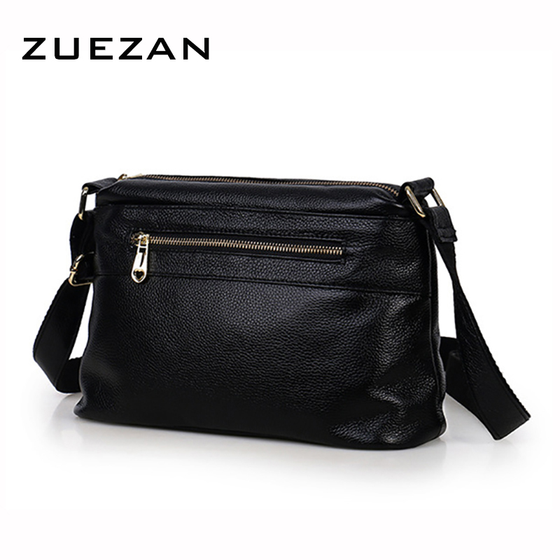 3 Zipper Leather Messenger Bag, Women Genuine Leather Shoulder Bag, Casual 100% Natural Cow Skin Cross body Shoulder Bag A381-in Top-Handle Bags from Luggage & Bags    1