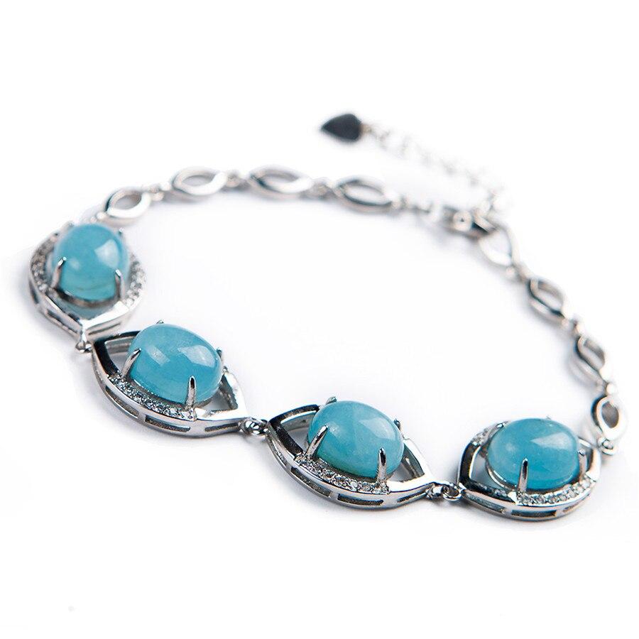 Véritable bleu naturel aigue-marine pierre gemme cristal perle Bracelet pour les femmes argent bijoux fins chaîne lien Bracelets livraison directe