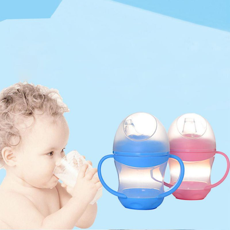 160ML Kids Children Straw Water Bottles Baby Handle Silicone Cup Learn Feeding Drinking Double-insulated Baby Kids Bottles Cup