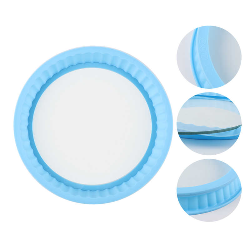 Delidge 1 Set Round Shape Silicone Cake Mold With Glass Tray Kitchen Detachable Fondant Chocolate Baking Tools