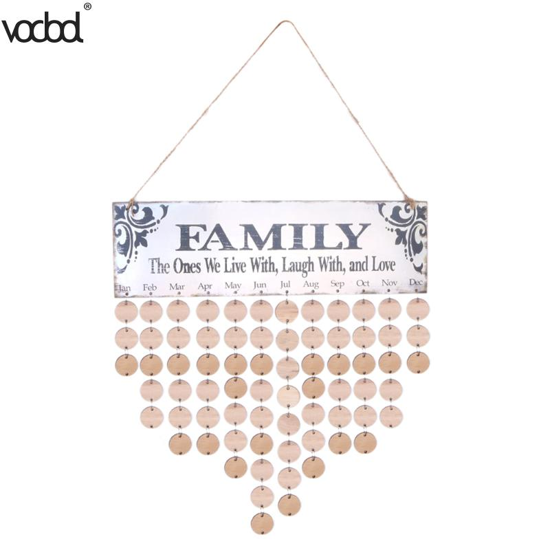 DIY Wooden Calendar Family Round Printed Wall Calendars Sign Special Dates Reminder Board Planner Home Hanging Decor Gift diy fashion wooden birthday calendar family friends sign special dates planner board hanging decor gift decorate your home