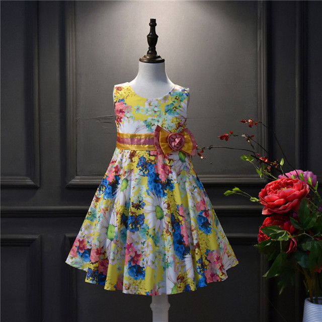 78ac1a4a9084 4 10Y Girl Sleeveless Dress Rose Pattern A Line Princess Dress Girls ...