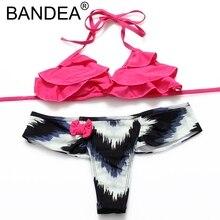 BANDEA 2017 New Bikini Set Bathing Suit For Women Strappy Print Swimwear Ruffle Swimsuit Women Floral Sexy Mini Thong Bikini