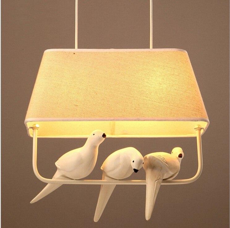 Moderni kreativni Cloth art ptica LED luster restoran, den ukras, - Unutarnja rasvjeta - Foto 5