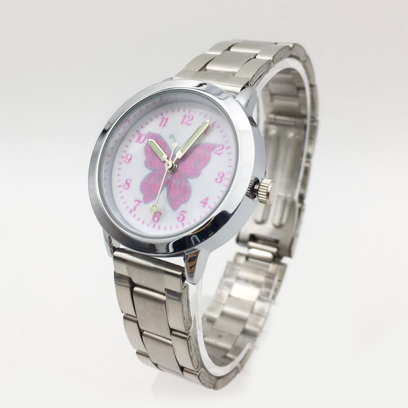 Cartoon Pink Butterfly Girl Women Watches 2019 New Small Quartz Stainless Steel Silver Band Girls Ladies Wrist Watches Clock