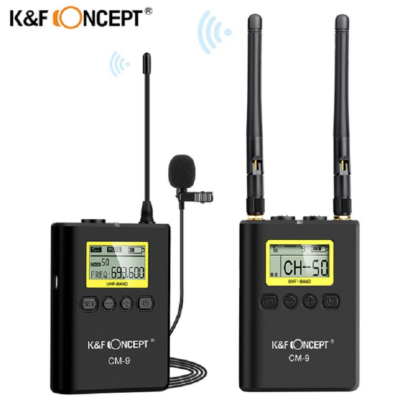 K F Concept CM 9 Professional UHF Wireless Microphone System Receiver Transmitter for Nikon Canon Sony