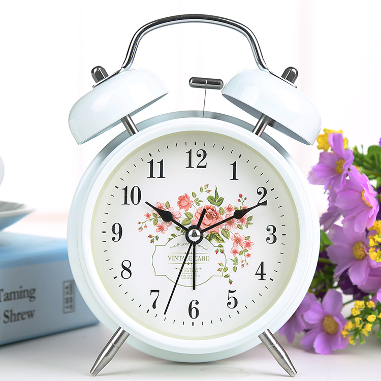 Large 4 Inches Creative Clock Personality Mute Alarm Clock Metal Digital Nightlights Table Clock Bell
