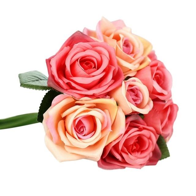 Coton Fleur De Mariage Bouquet Roses Bouquet Fleur Artificielle Faux