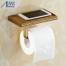 Twin Flowers Series Carving Antique Brushed Brass Toilet Paper Holders Mobile Phone Holder Bathroom Accessories Paper Shelf(China (Mainland))