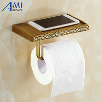 Twin Flowers Series Carving Antique Brushed Brass Toilet Paper Holders Mobile Phone Holder Bathroom Accessories Paper Shelf