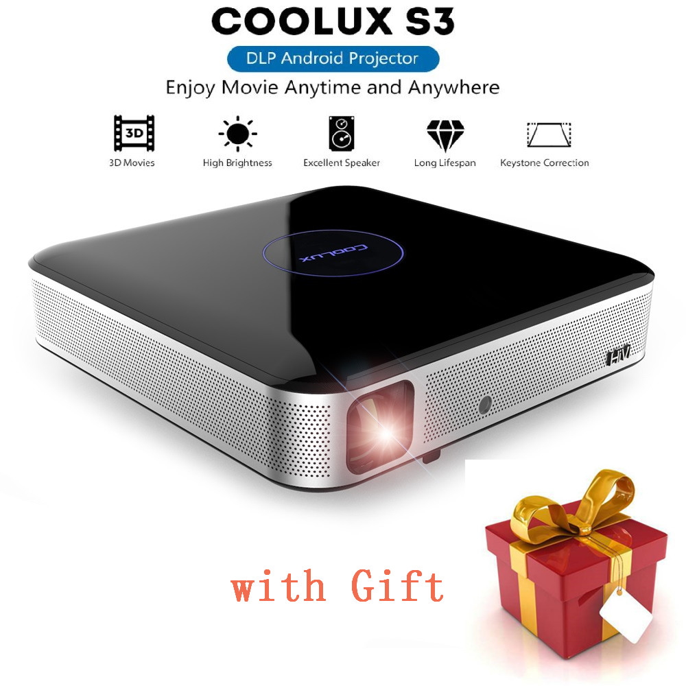 COOLUX S3 Pro DLP Projector 3D Bluetooth 1100 ANSI 1280 x 800P Support 4K 2.4 / 5GHz WiFi Bluetooth 4.0 Home Theater Player Проектор