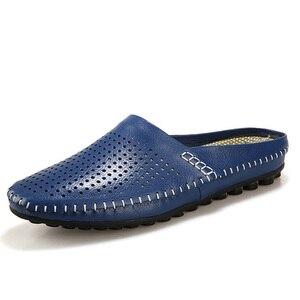 Image 2 - Sanzoog yaz Slip On nefes deri yarım ayakkabı erkekler için rahat slip ons moda düşük Dropshipping tedarikçiler siyah mavi