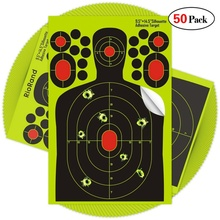 50pack Shooting stickers Splatter Mål 9,5x14,5 tommer Selvklæbende papir Silhouette Reactive Target Stickers for Gun Rifle