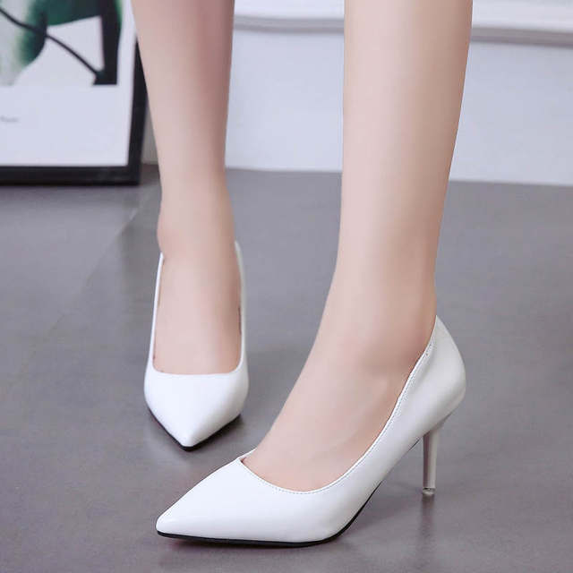 2019 HOT Women Shoes Pointed Toe Pumps Patent Leather Dress  High Heels Boat Shoes Wedding Shoes Zapatos Mujer Blue White 55