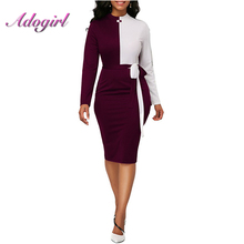 Color Patchwork Turtleneck Autumn Dresses Long Sleeve Fashion sexy Bandage casual Office Lady Midi dress