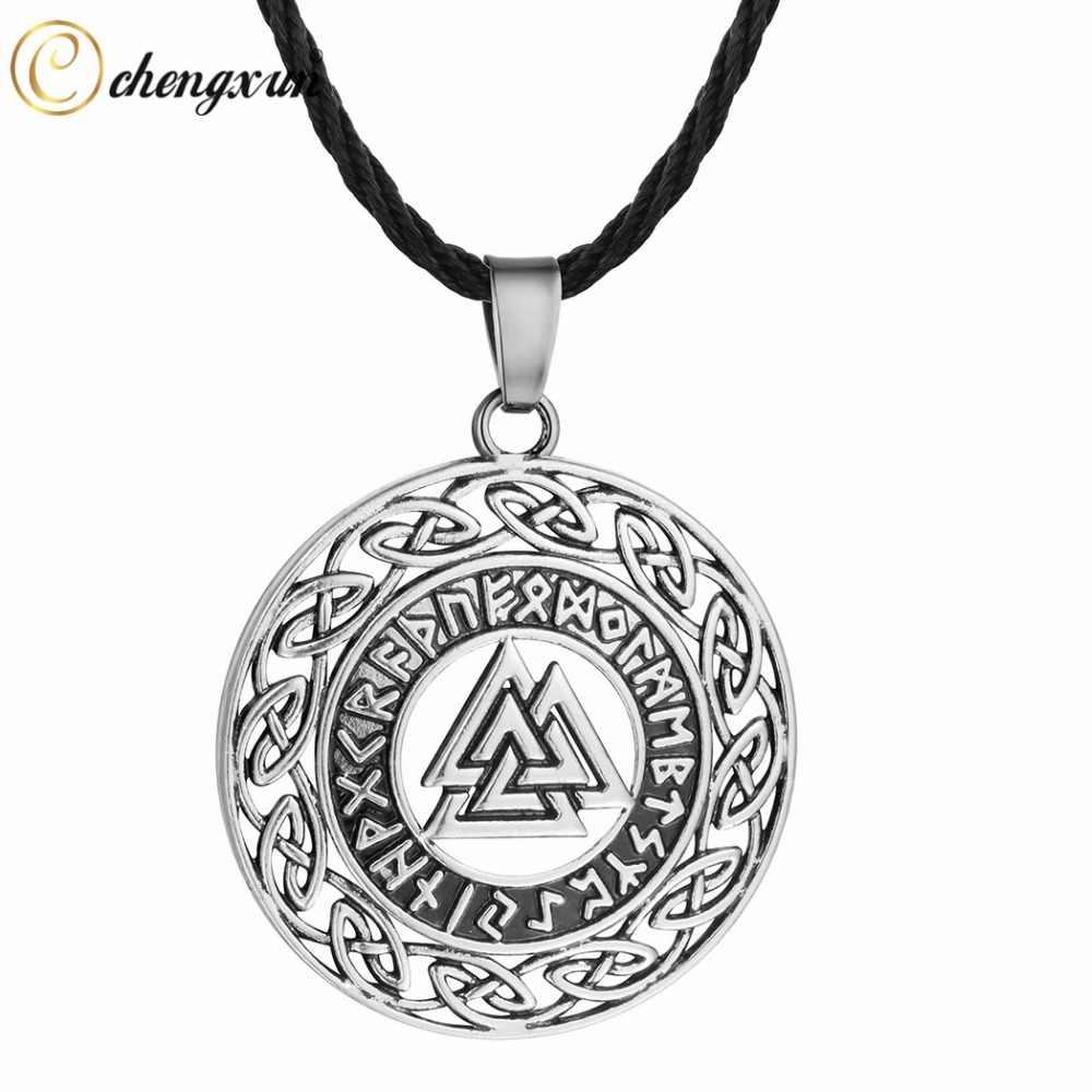 CHENGXUN Celtic Knot Infinity Charm Pendant Pria Kalung Antik Perhiasan Rune Pyramid Collier Rantai Tali Hitam untuk Hadiah
