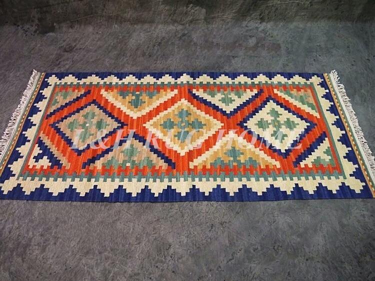 Livraison gratuite tapis kilim 2.5 'X6', tapis Kelim en laine noués à la main, tapis turc Pakistan