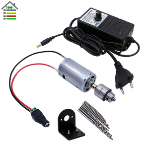 Image 1 - DIY Mini wiertarka ręczna wiertarki elektryczne zestaw części DC 12 24V silnik JT0 Chuck regulowana moc adapter do zasilacza podłączanie zacisk kablowy