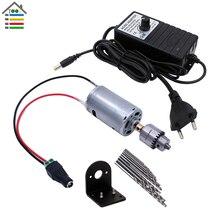 Diy mini broca manual brocas elétricas conjunto de bits dc 12 24 v motor jt0 chuck adaptador de alimentação ajustável conexão terminal de fio
