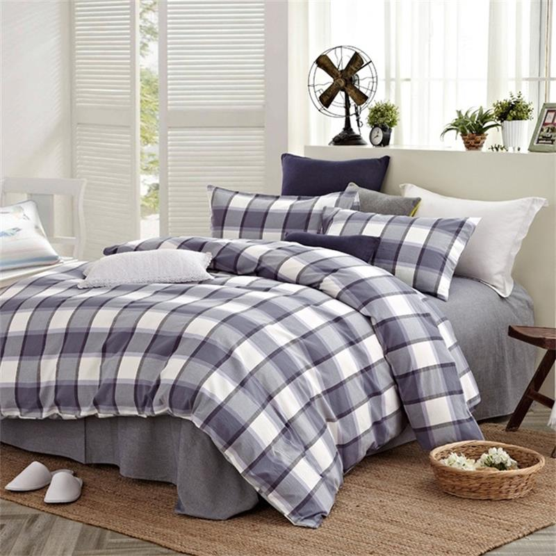 Grey Green Red Blue British Plaid And Striped Bedding Set