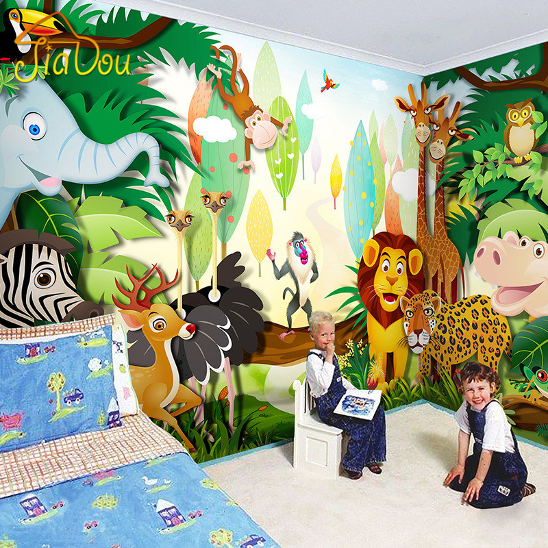 Custom children 39 s room mural wallpaper 3d cartoon forest for Children s wallpaper mural