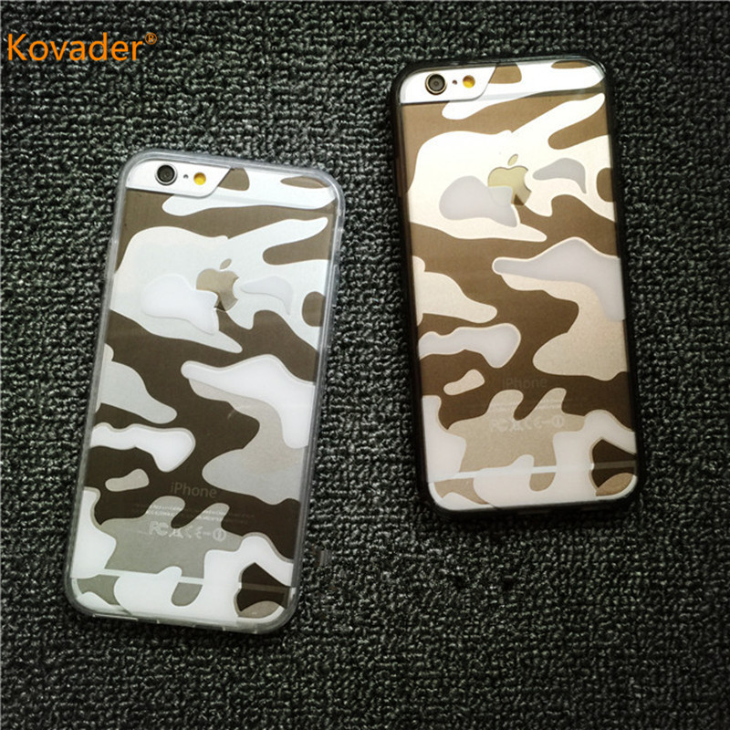 Kovader Army Camo Camouflage Clear Phone Bag Cover Hard Plastic Armor Protective Phone Cases for iPhone 6 s 6s 7 plus 8 8plus