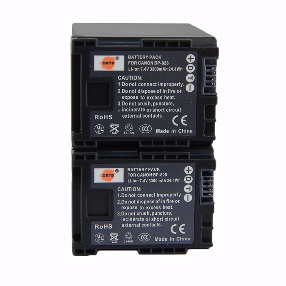 DSTE 2PCS BP-828 Rechargeable Battery for Canon HF-G30 XA20 XA25 Digital Camera original bp 809 7 4v 890mah camera battery rechargeable battery