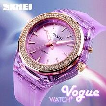 SKMEI montres à Quartz pour femmes, rétroéclairé, cadran incrusté de strass, étui Transparent, 5bar, LED étanche