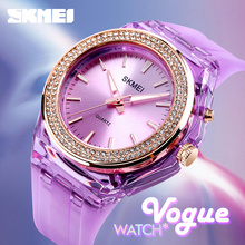 Skmei Mode Quartz Vrouwen Horloges 5bar Waterdichte Led Backlight Rhinestone Ingelegd Wijzerplaat Transparant Case Band Reloj Mujer 1553