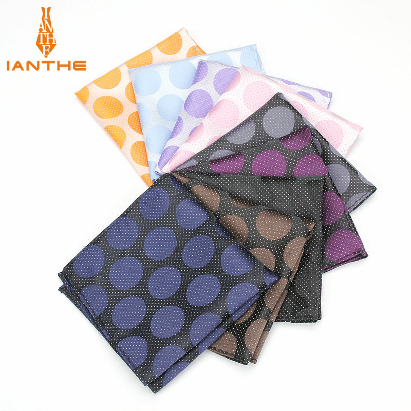 Mens Pocket Squares Polka Dot Pattern Blue Handkerchief Fashion Hanky For Men Business Suits Hankies Towel Accessories 25cm*25cm