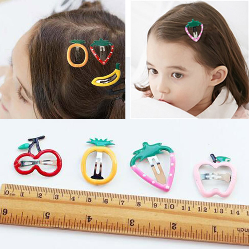 Hot Sale 1Pair Cute Fruit Apple hair clips Child hairpin Cute kids Girls Barrettes Baby Hair Accessories