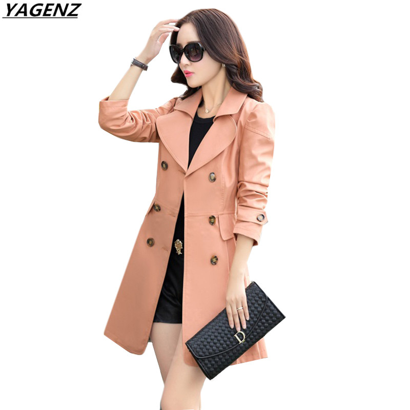 High Quality Windbreaker Female 2017 Autumn Outerwear Solid Color Double Breasted Slim Large Size Women Trench Coat YAGENZ K463