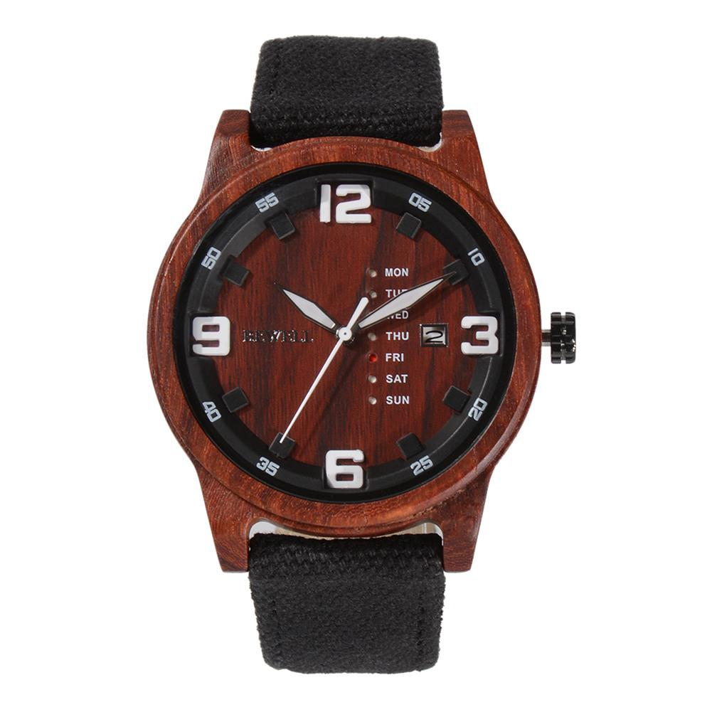 лучшая цена LinTimes Men Stylish Quartz Watch with Wooden Watchband Casual Wristwatch Ornament Gift