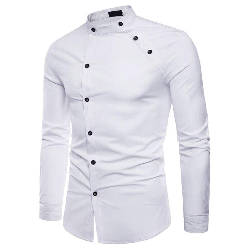 100% Wahr Männer Der Doppel Taste Kleid Shirt Top Stehkragen Langarm Schwarz Weiß Shirts Tops Für Männer Männlichen Sommer Streetwear Dünne Kleidung GroßE Vielfalt