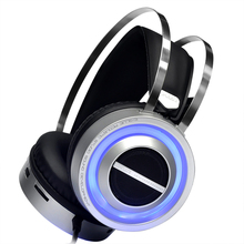 USB Wired Over-ear Headsets Sound Speaker Gaming Headphones 3.5mm Noise Cancelling Earphones with Hidden Microphone LED Light