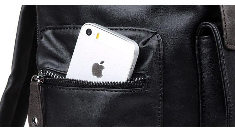 New Korean men's casual high-end PU leather shoulder cross-section square laptop bag travel bag
