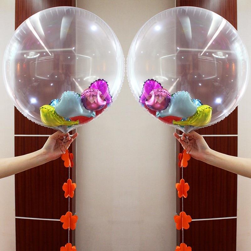 10pcs Lot 24 Inch Transparent Clear Foil Balloons Aluminum