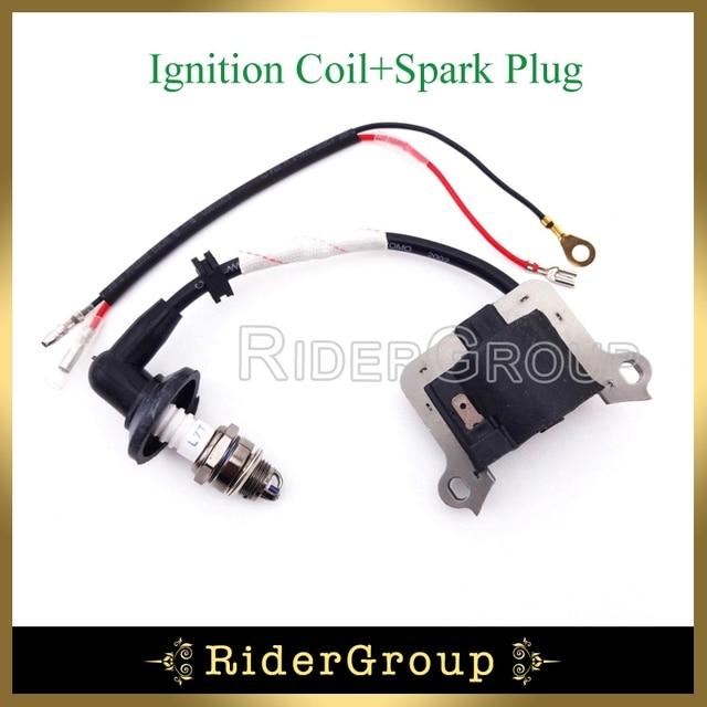 US $10 98 10% OFF|2 Stroke Engine Ignition Coil 3 Electrode L7T Spark Plug  For 33cc 43cc 49cc Gas Scooter Super Mini Moto Pocket Bike Go Kart-in