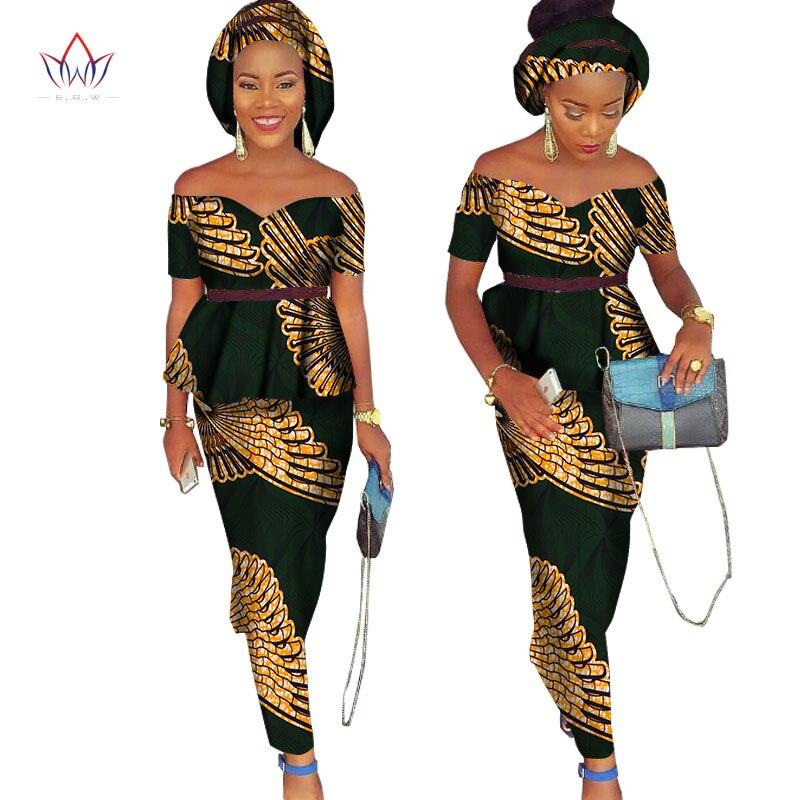 African Bazin Riche Klänning för Kvinnor 2 Pieces Set Tops & - Nationella kläder - Foto 6