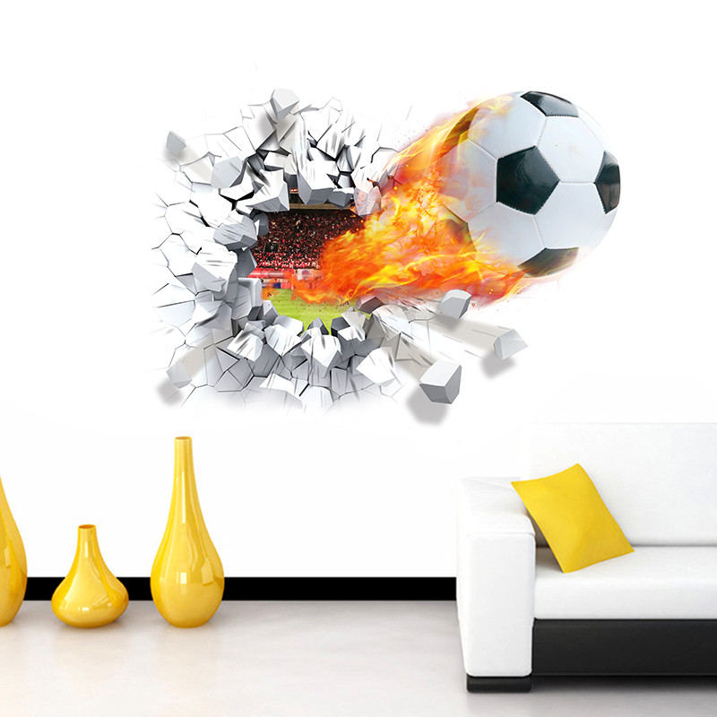 Football Soccer Ball Through The Wall Stickers TV Background Removable  Living Room Bedroom Wall Decals Boys Room Decoration In Wall Stickers From  Home ... Part 90