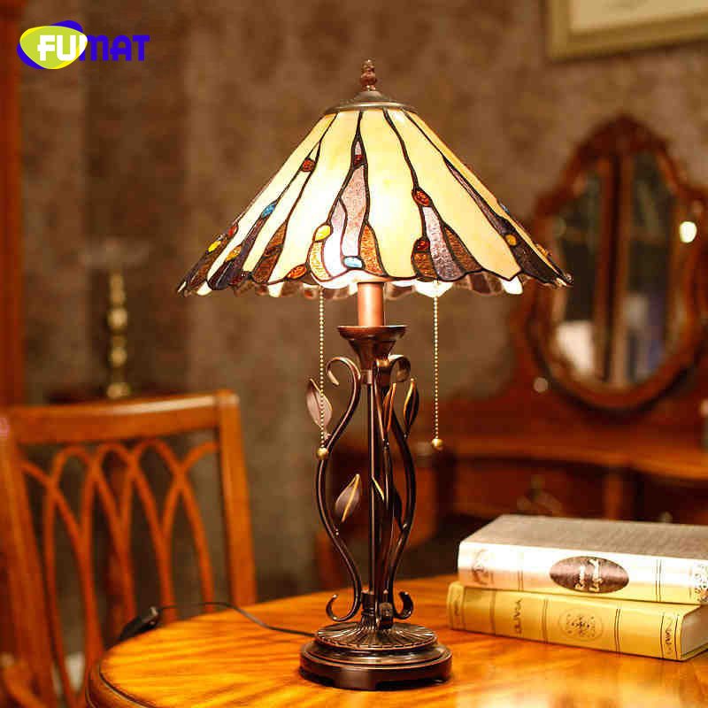 Living Room With Wooden End Table And Tiffany Lamp: FUMAT Stained Glass Lamp Spanish Mission Style Table Lamp