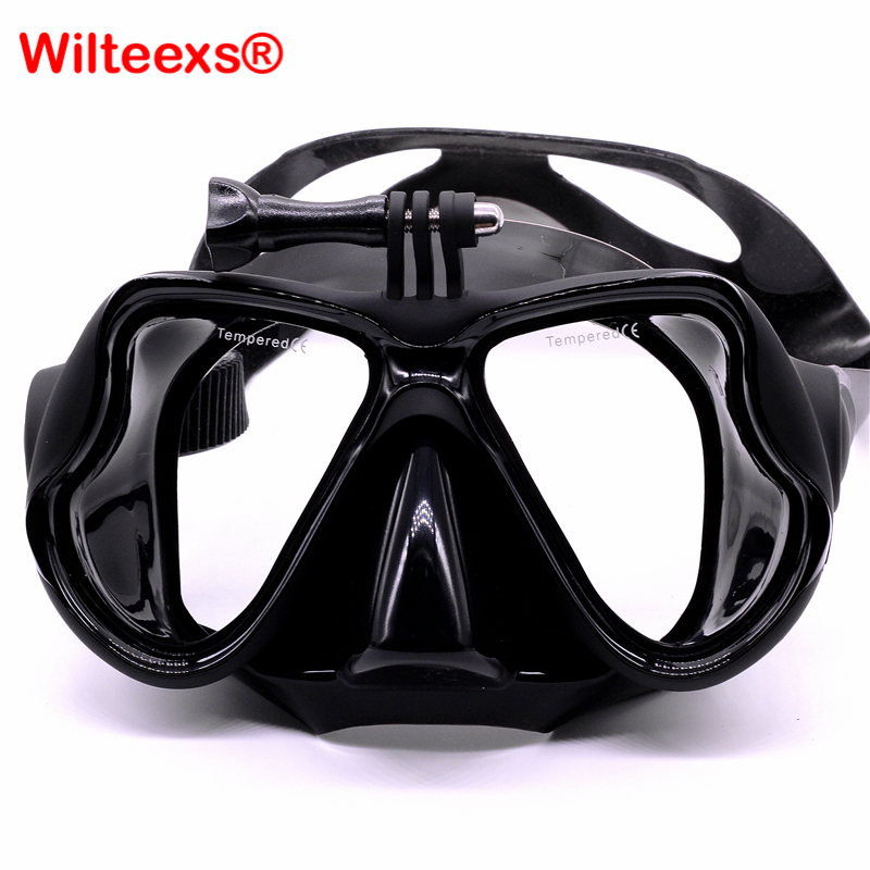 WILTEEXS Diving Mask action camera accessories Scuba Snorkeling glass goggles silicone tempered for gopro Hero5 4