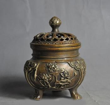 "wedding decoration 5"" marked old china chinese fengshui bronze lotus statue incense burner Censer"