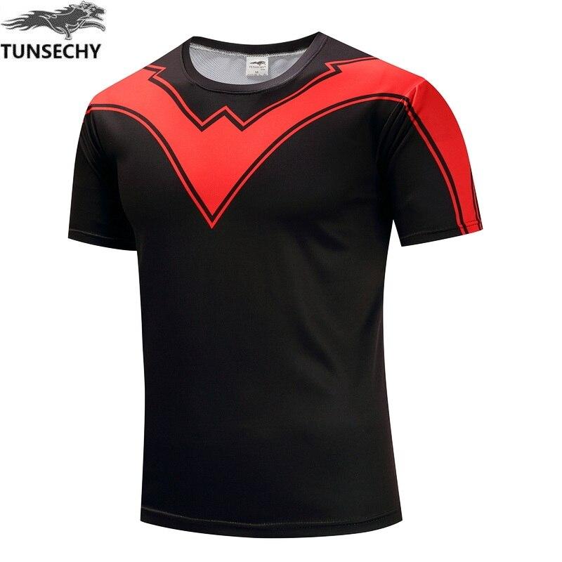 TUNSECHY fashion Brand Round collar short sleeve T-shirt superhero captain America digital printing T-shirt Free transportation