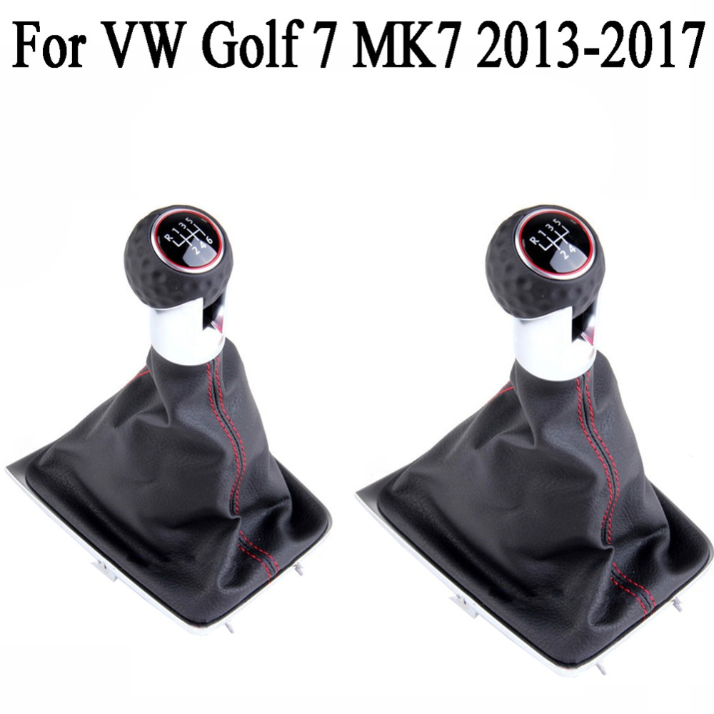 5 Speed Leather Gear Shift Knob + Gaiter Boot Cover for VW Golf 7 MK7 2013 2014 2015 2016 2017