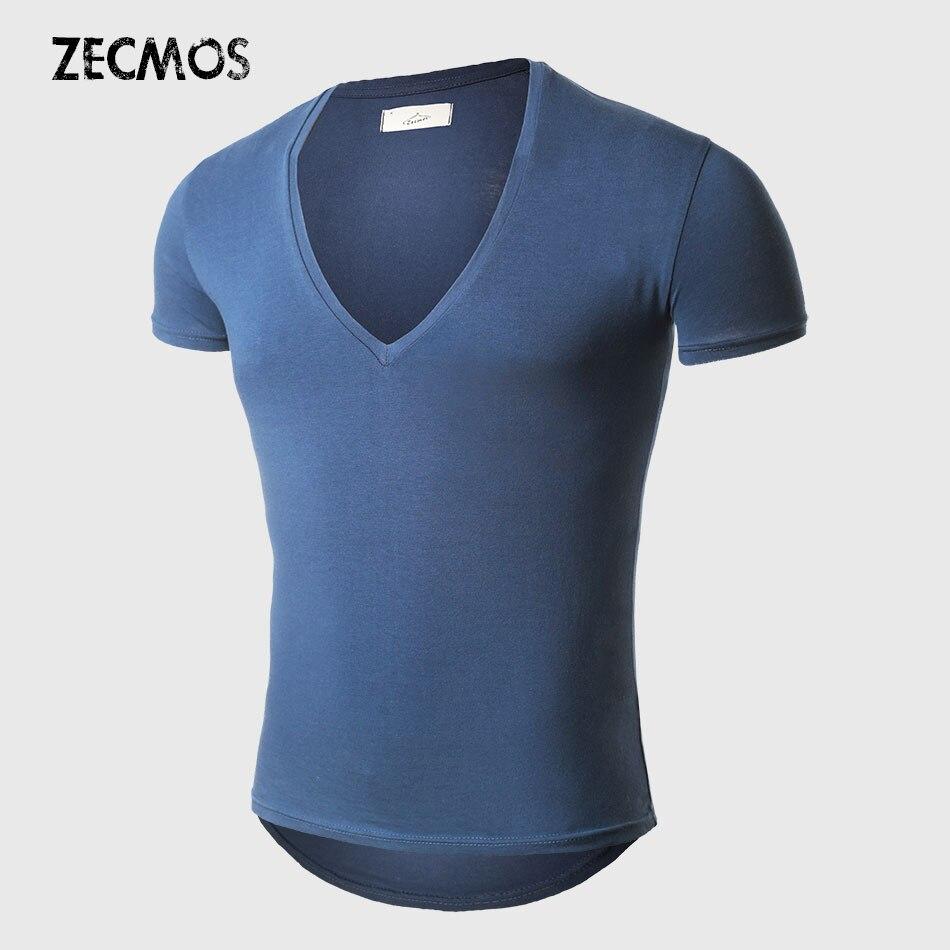 21 Couleurs Profonde V Cou T-Shirt Hommes Mode De Compression À Manches Courtes T Shirt Homme Muscle Fitness Serré D'été Top T-shirts