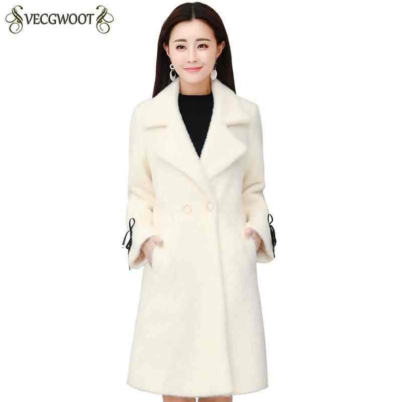 Abrigo cárdigan de terciopelo de agua de felpa de mujer medio largo grueso cálido 2019 de moda nueva chaqueta femenina de invierno ropa de abrigo delgada coreana PR436