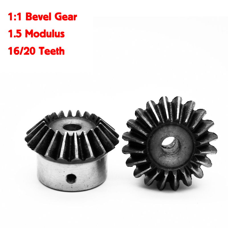 2 Stücke 1:1 Bevel 1,5 Modulus 16/20 Zähne Id = 6mm/8mm/10mm/ 12mm 90 Grad Stahl Zahnräder Mit Schrauben